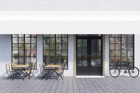 outdoor dining: Cafe exterior with large windows, wooden tables with chairs and a bicycle near the entrance. 3d rendering. Mock up.