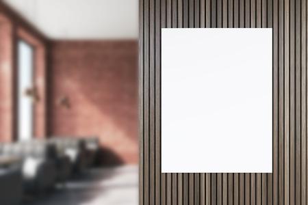 Posters In Interieur : Frontansicht eines posters in einem café interieur mit beige