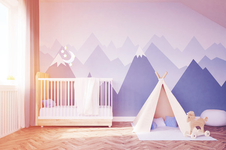 playroom: Babys room. Bed, tent. 3d rendering. Toned image