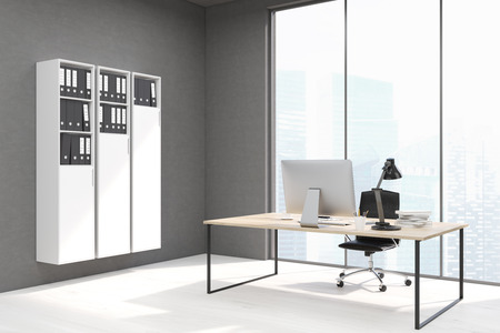 ceo office: Side view of a CEO office with white bookcase and a large table with a computer on it. Panoramic window. 3d rendering. Mock up.