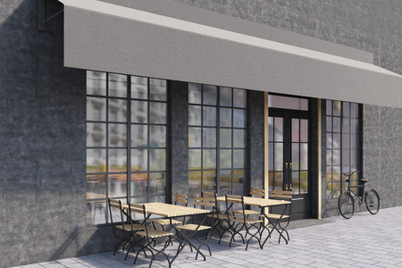 outdoor dining: Side view of a cafe exterior with large windows, wooden tables with chairs and a bicycle near the entrance. 3d rendering. Mock up.