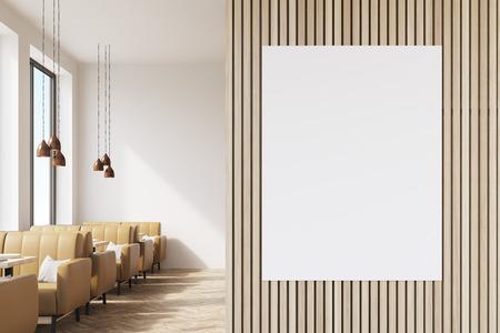 Posters In Interieur : Innenraum eines coffee shop mit beige ledersofas große fenster