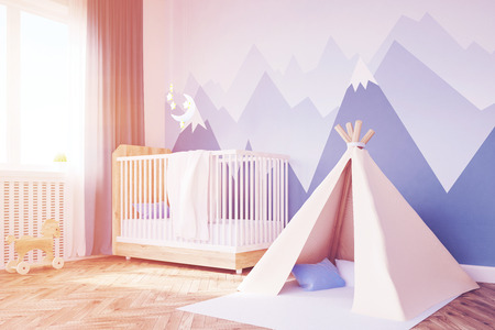 playroom: Close up of baby's room. 3d rendering. Toned image Stock Photo