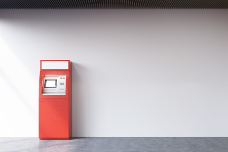 checking account: Red ATM machine standing near a concrete wall. Concept of monetary operations. 3d rendering. Mock up Stock Photo