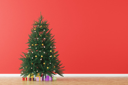Christmas tree standing in a room with red walls. Concept of celebration and festivity. 3d rendering. Mock up