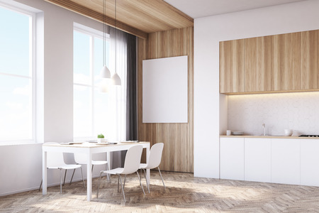 tabletop: Side view of kitchen interior with tabletop and dining table surrounded by chairs. There is a large vertical poster on a light wooden part of the wall. 3d rendering. Mock up.