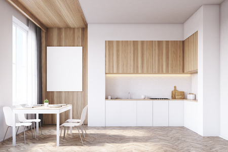 tabletop: Kitchen interior with tabletop and dining table surrounded by chairs. There is a large vertical poster on a light wooden part of the wall. 3d rendering. Mock up.