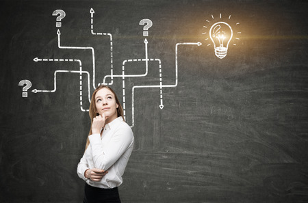 Close up of a blond businesswoman with crossed arms standing near a blackboard with an arrow labyrinth and a light bulb sketch. Mock up