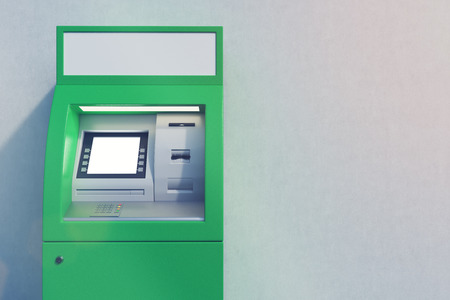 checking account: Close up of a green ATM machine standing near a concrete wall. Concept of monetary operations. 3d rendering. Mock up