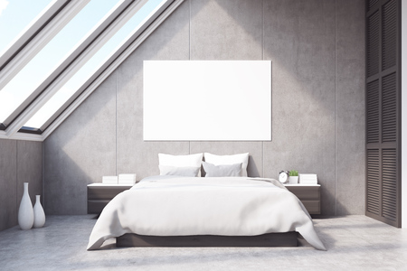 poster bed: Front view of a bedroom in the attic with a large horizontal poster situated above the master bed. 3d rendering. Mock up.