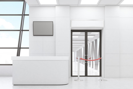 Airport waiting room with a desk, a TV set, a door and a rope. White walls. Concept of travelling. 3d rendering. Mock up.