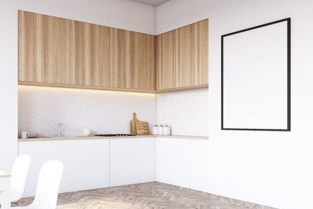 counter top: Side view of a tabletop in the kitchen. There are drawers, cutting board and oven. Light wood. 3d rendering. Mock up