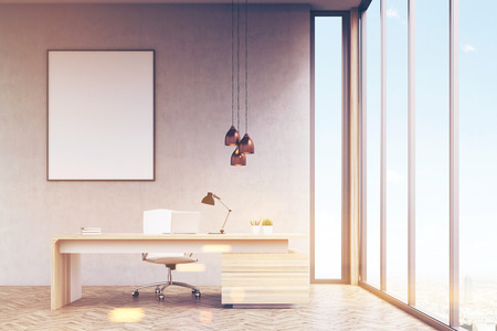 3d manager: Office of a high rank manager with a large wooden table, a computer and a white chair. Panoramic window and a vertical framed poster on a gray wall. 3d rendering. Mock up. Toned image