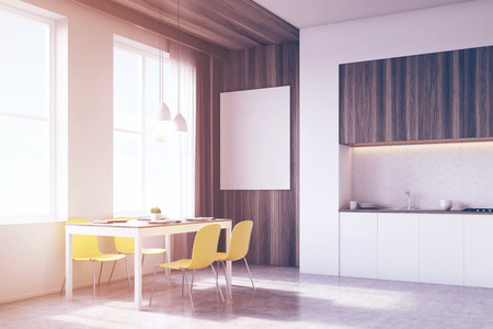 tabletop: Side view of kitchen interior with tabletop and dining table surrounded by chairs. There is a large vertical poster on a wooden part of the wall. 3d rendering. Mock up. Toned image