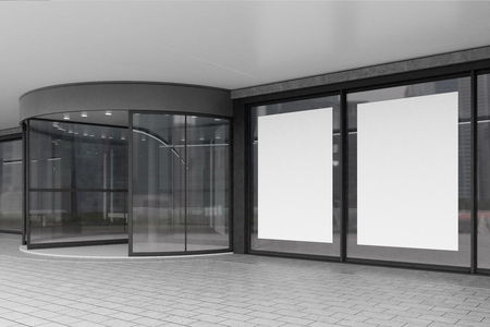 blank poster: Side view of a corporate building entrance with a glass door and two large vertical posters in the windows. 3d rendering. Mock up.