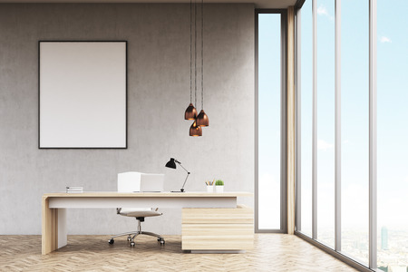 3d manager: Office of a high rank manager with a large wooden table, a computer and a white chair. Panoramic window and a vertical framed poster on a gray wall. 3d rendering. Mock up