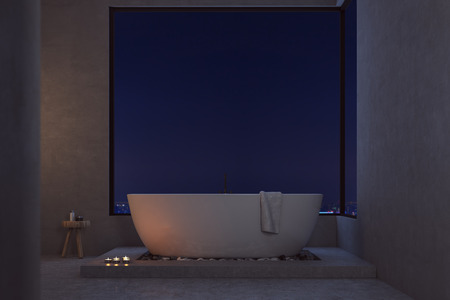 self care: Dark bathroom lighted with candles. Large bathtub with a towel hanging on it and small chair with self care products. Concept of romantic night. 3d rendering. Mock up.