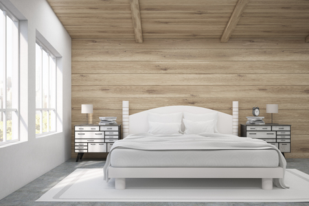 cozy: Front view of a double bed in a room with wooden walls and ceiling. There are two bedside tables and two large windows. 3d rendering. Mock up. Toned image