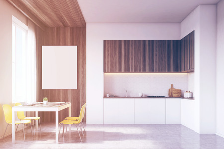 counter top: Kitchen interior with tabletop and dining table surrounded by chairs. There is a large vertical poster on a wooden part of the wall. 3d rendering. Mock up. Toned image Stock Photo