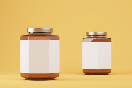 lids: Close up of two brown and white salt shakers with  shiny lids. Concept of cooking and eating. Yellow background. 3d rendering. Mock up. Stock Photo