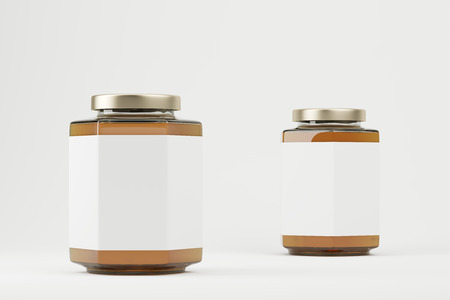 Close up of two brown and white salt shakers with  shiny lids. Concept of cooking and eating. 3d rendering. Mock up. Stock Photo