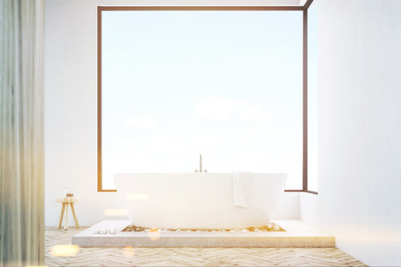 skylight: Front view of a bathroom interior with a wooden wall, white bathtub with a towel and panoramic windows. 3d rendering. Mock up. Toned image