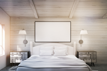 bedside tables: Front view of a double bed in a room with wooden walls and ceiling. There are two bedside tables and two large windows. A framed poster is above the bed. 3d rendering. Mock up. Toned image Stock Photo