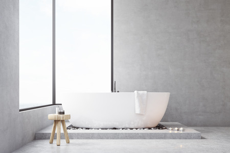 self care: Bathroom interior with large rectangular window, bathtub and a small chair with self care products. Concept of cleanness. 3d rendering. Mock up.
