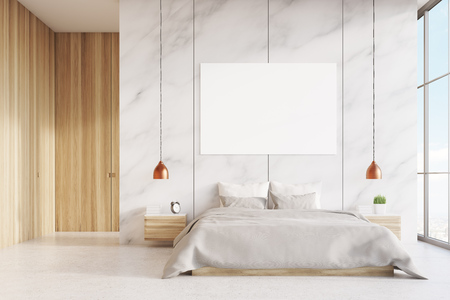 bed room: Front view of a bedroom interior with a king size bed, wooden and marble walls, panoramic window and a horizontal poster. 3d rendering. Mock up.