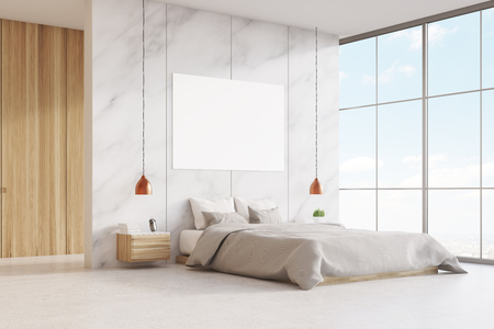 modern interior design: Bedroom interior with a king size bed, wooden and marble walls, panoramic window and a horizontal poster. 3d rendering. Mock up.