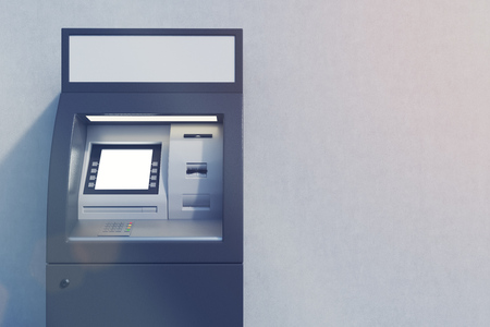 checking account: Close up of a black ATM machine standing near a concrete wall. Concept of monetary operations. 3d rendering. Mock up