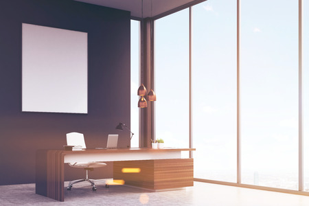 3d manager: Side view of an office of a high rank manager with a large wooden table, a computer and a white chair. Panoramic window and a vertical poster on a black wall. 3d rendering. Mock up. Toned image