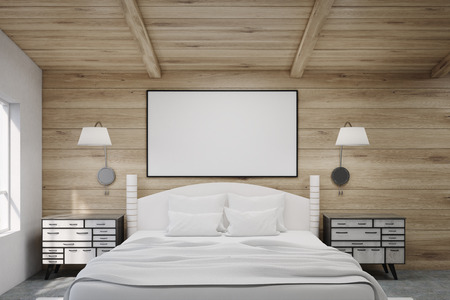 bedside tables: Double bed in a wooden bedroom with two bedside tables and lamps. A large horizontal poster is hanging above it. 3d rendering. Mock up.