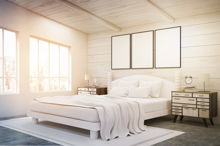 bedside tables: Side view of a double bed in a room with wooden walls and ceiling. There are two bedside tables and two large windows. Three framed posters are above the bed. 3d rendering. Mock up. Toned image