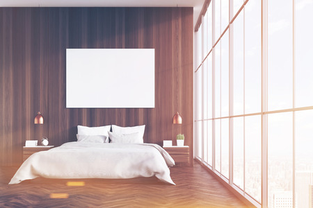image size: Front view of a bedroom interior with a king size bed,  dark wood walls, panoramic window and a horizontal poster. 3d rendering. Mock up. Toned image Stock Photo