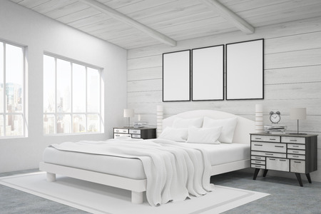bedside tables: Side view of a double bed in a room with wooden walls and ceiling. There are two bedside tables and two large windows. Three framed posters are above the bed. 3d rendering. Mock up.