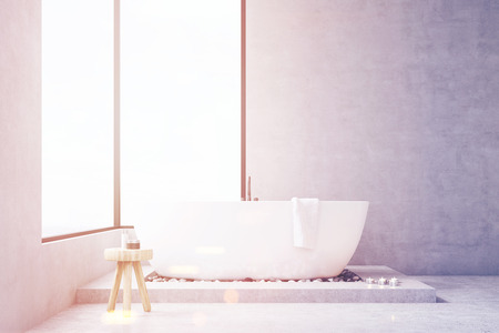 self care: Bathroom interior with large rectangular window, bathtub and a small chair with self care products. Concept of cleanness. 3d rendering. Mock up. Toned image