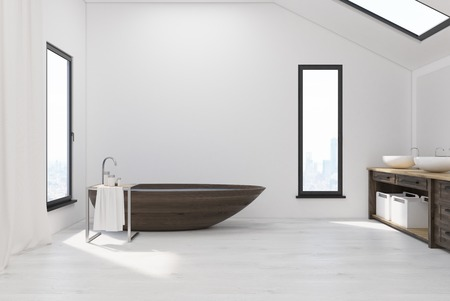 attic: Interior of a bathroom in the attic with narrow windows in walls and roof, wooden tub, white walls and two sinks. 3d rendering. Mock up. Stock Photo