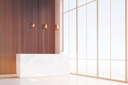 wooden panel: Corner of office hall with a white reception desk. There are three lamps above it, wooden panel and a panoramic window. 3d rendering. Mock up. Toned image
