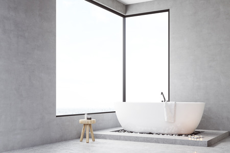 Corner Of A Bathroom Interior With Large Rectangular Window, Bathtub And A  Small Chair With