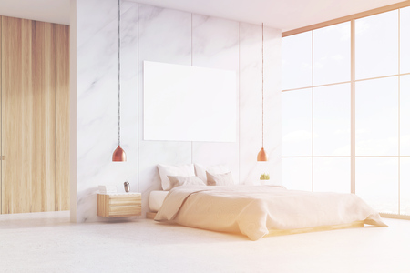 image size: Bedroom interior with a king size bed, wooden and marble walls, panoramic window and a horizontal poster. 3d rendering. Mock up. Toned image