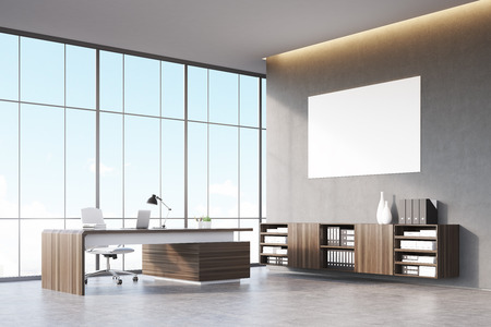 ceo office: Front view of a sunlit CEO office with wooden furniture, panoramic window and a horizontal poster on a gray wall. 3d rendering. Mock up.