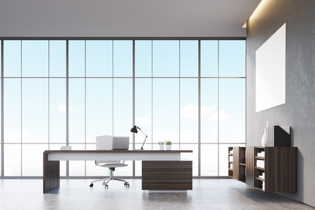 ceo office: Front view of a sunlit CEO office with wooden furniture, large panoramic window and a horizontal poster on a gray wall. 3d rendering. Mock up.