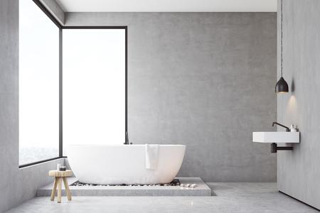 Badezimmer Interieur Mit Betonwänden, Panoramafenstern Und Einem ...