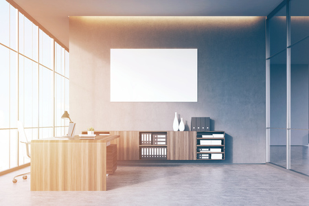 ceo office: CEO office with light wooden furniture, panoramic window, a glass wall and a poster on a gray concrete wall. 3d rendering. Mock up. Toned image Stock Photo