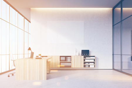 ceo office: CEO office with light wooden furniture, panoramic window, a dark glass wall and a poster on a white wall. 3d rendering. Mock up. Toned image