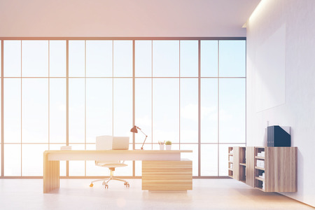 ceo office: Front view of a sunlit CEO office with wooden furniture, panoramic window and a horizontal poster on a white wall. 3d rendering. Mock up. Toned image