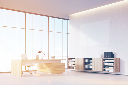 ceo office: Corner of a sunlit CEO office with wooden furniture, panoramic window and a horizontal poster on a white wall. 3d rendering. Mock up. Toned image Stock Photo
