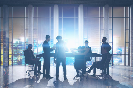 Meeting room. Group of businessmen around a table discussing work issues. Film effect. 3d rendering. Toned image. Double exposure Banco de Imagens