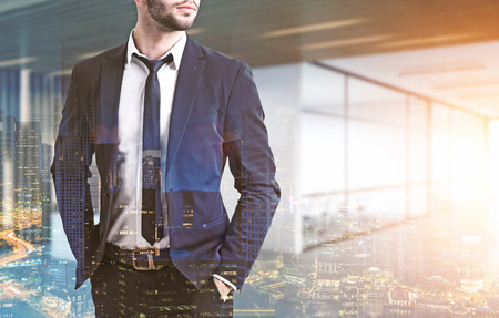wealthy lifestyle: Close up of a businessmans torso. He is wearing a suit and standing with his hands in pockets. There is a conference room in the background. 3d rendering. Toned image. Double exposure Stock Photo